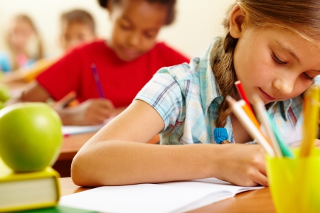 Portrait of lovely girl drawing in copybook at lesson Stock Photo - 13631225