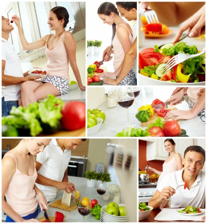 Collage of happy couple cooking and eating in the kitchen photo