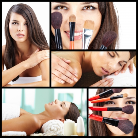 Collage of a beautiful woman taking care of her beauty  photo