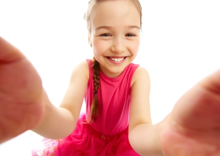 Charming girl looking and smiling at camera Stock Photo - 13766686