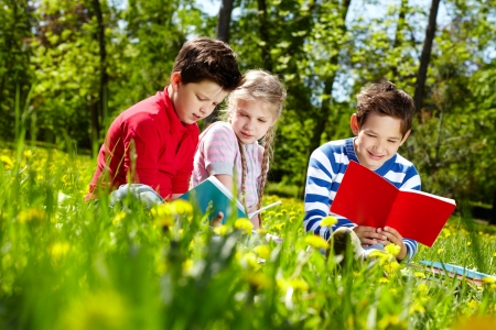 Three friends reading on the lawn  Stock Photo - 13767253