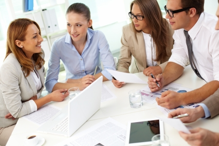 collaboration: Image of confident partners sharing new ideas at meeting Stock Photo