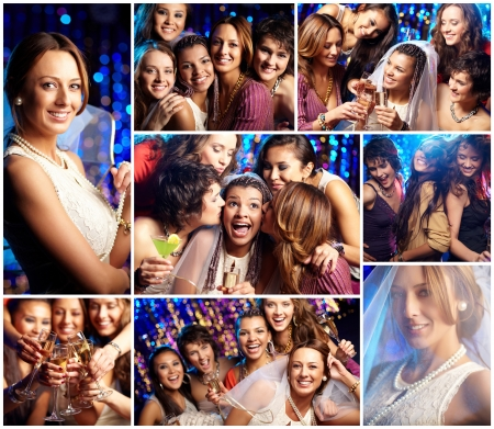 bridesmaid: Collage of friends at the bridal party