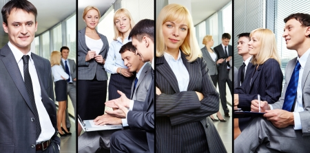 Collage of businesspeople working in group and business leaders Stock Photo - 13869949