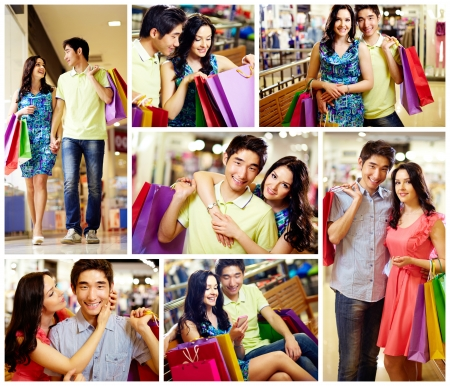 go shopping: Collage of romantic couple with shopping bags spending time in the mall