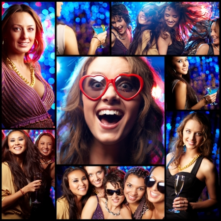 Collage of partying girls having fun in night club photo