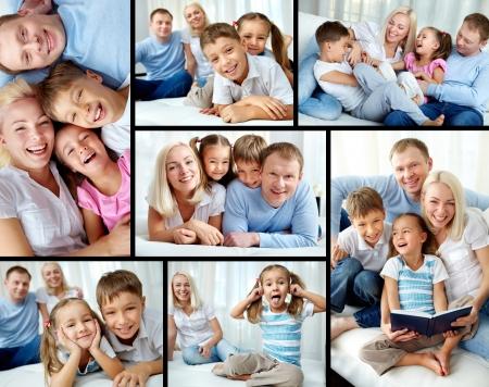 familias felices: Collage de familia feliz descansando en su casa