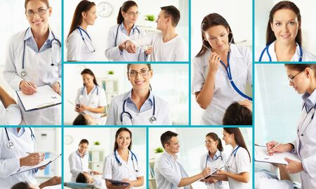 medical practice: Collage of practitioners and patient in hospital Stock Photo