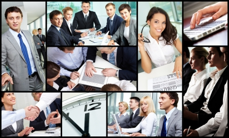 technology collage: Collage of successful business people during work Stock Photo