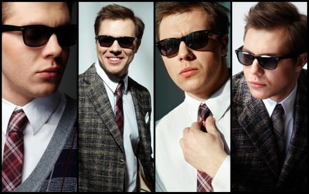 stylish men: Collage of elegant man in smart clothes