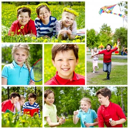 niño corriendo: Collage de los niños lindos que tienen descanso en el verano Foto de archivo