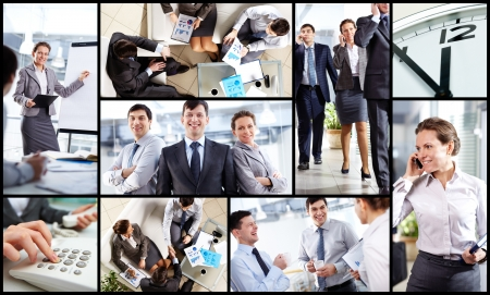 Collage of business partners at work in office photo