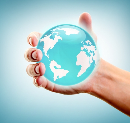 Human hand holding and showing earth Stock Photo - 13949125