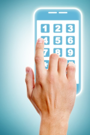 Human hand touching buttons of smartphone Stock Photo - 13949139