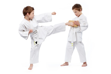 karate fighter: Twin boys practicing karate, one of them holding a brick, another one kicking