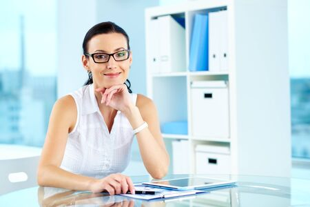 Portrait of a beautiful lady at her workplace Stock Photo - 13976159