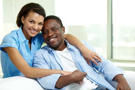 african family: Image of young African couple looking at camera Stock Photo