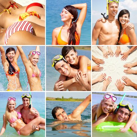 Collage of happy friends spending summer vacation at the seaside photo