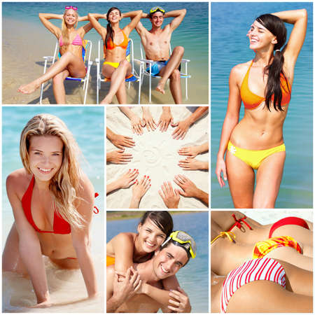 Collage of happy young people spending summer vacation at the seaside photo