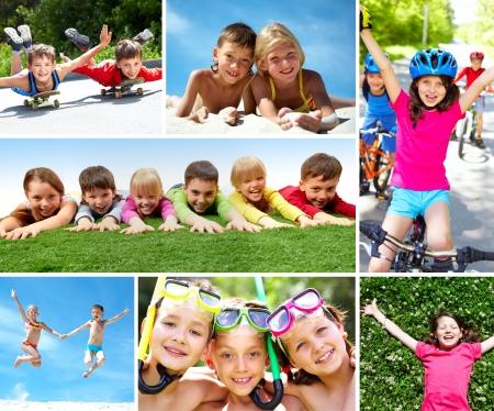 Photo of happy kids spending summer in active way photo