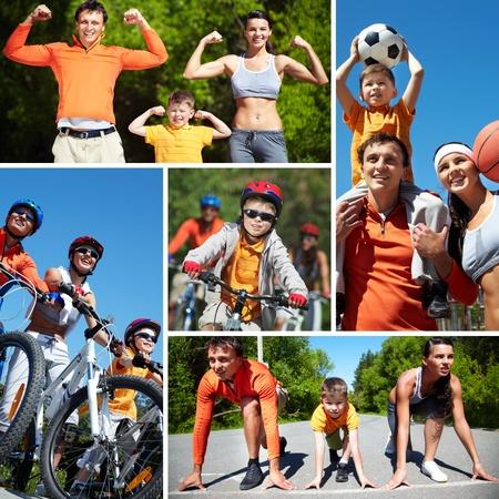 balones deportivos: Collage de la familia feliz de entrar para los deportes