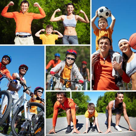 sports activities: Collage of happy family going in for sports