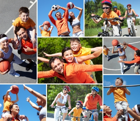 piggyback ride: Collage of happy family at leisure in summer
