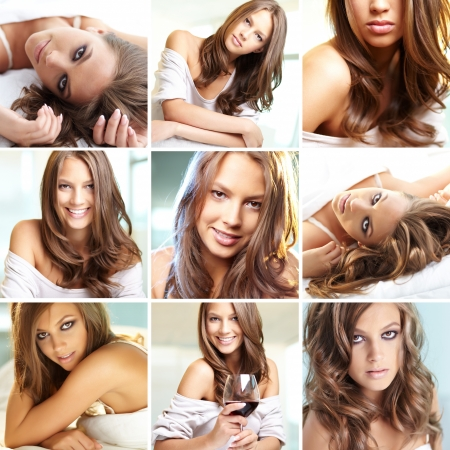 maquillage: Collage of young woman posing in front of camera  Stock Photo