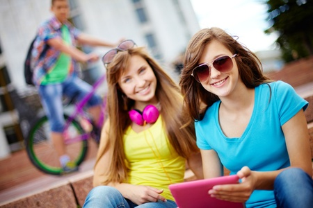 usual: Teenagers hanging out together on a usual summer day, selective focus
