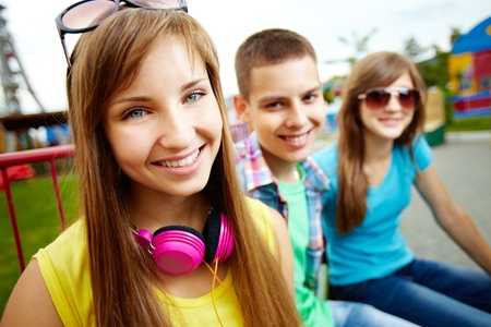 cute teen boy: Portrait of friends spending summer vacation together