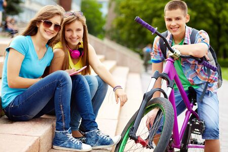school friends: Portrait of teenagers enjoying life and themselves, urban environment