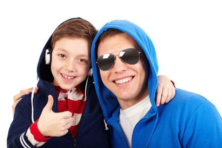 cool boy: Portrait of a cool boy hanging out with his dad being no less cooler