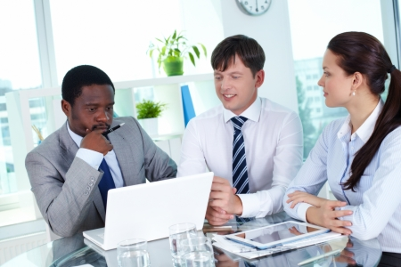 Portrait of group of employees working with laptop at meeting Stock Photo - 14469631