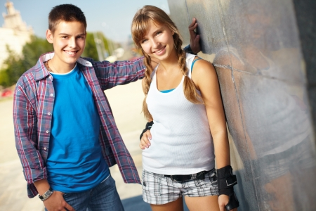 cool boy: Portrait of two teen friends in urban surroundings on a summer day Stock Photo