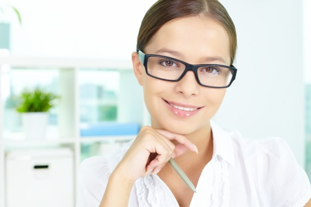 Portrait of successful businesswoman looking at camera in office Stock Photo - 14519539