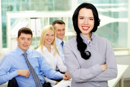 Portrait of young business people being ready for achievement  photo