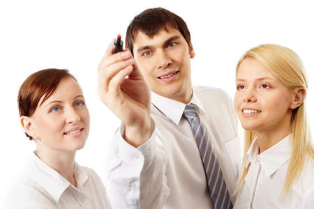 new strategy: Enthusiastic group of business people developing new strategy