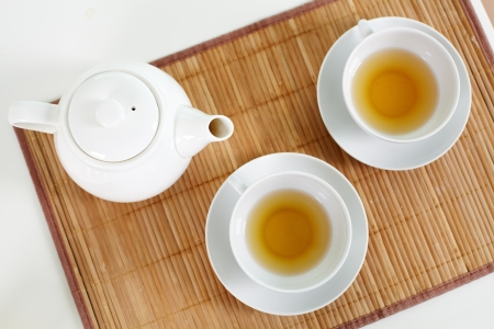 pureness: The above view of a tea set with healthful herbal drink