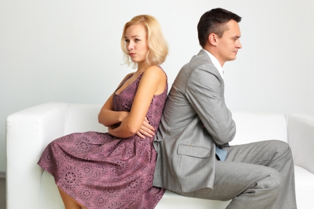 Unhappy couple going through break-up photo