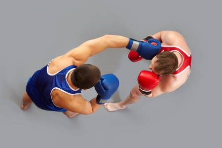 The above view of two guys boxing photo