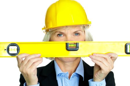 Portrait of confident architect with diy tool looking at camera Stock Photo