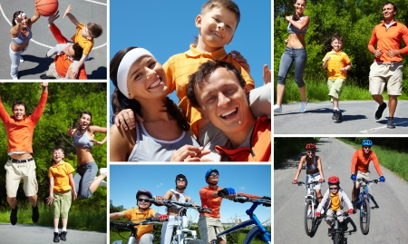 family activities: Collage of sporty family having active leisure
