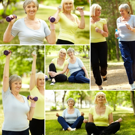 Collage of elderly women doing exercises outdoors photo