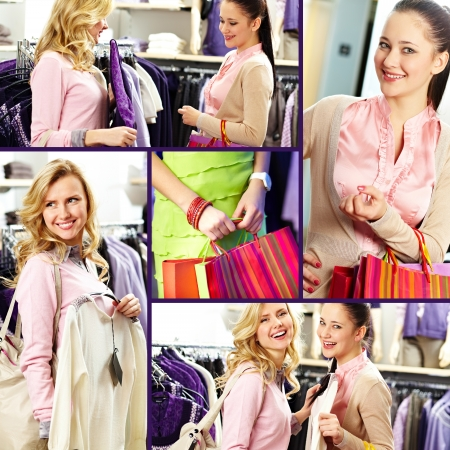 Collage of pretty girls in department store photo