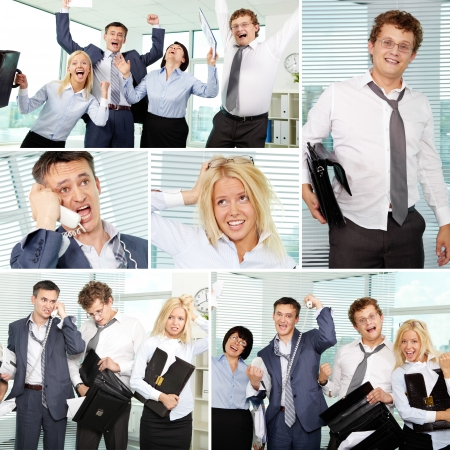 Collage of tired businesspeople in office Stock Photo - 14730858