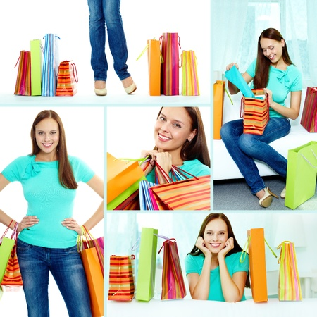 Collage of happy girl with paperbags after shopping Stock Photo - 14730852