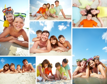 Collage of happy family spending summer vacation on resort Stock Photo - 14730841