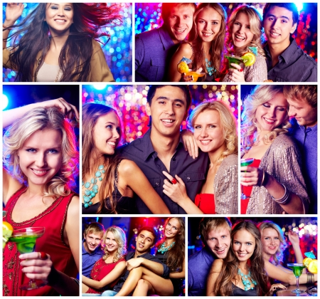 Collage of happy friends having party Stock Photo - 14730861