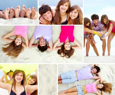 barefoot teens: Collage of joyful teenage friends on sandy beach