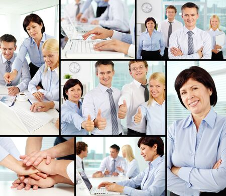 associates: Photo collection of successful businesspeople working in team